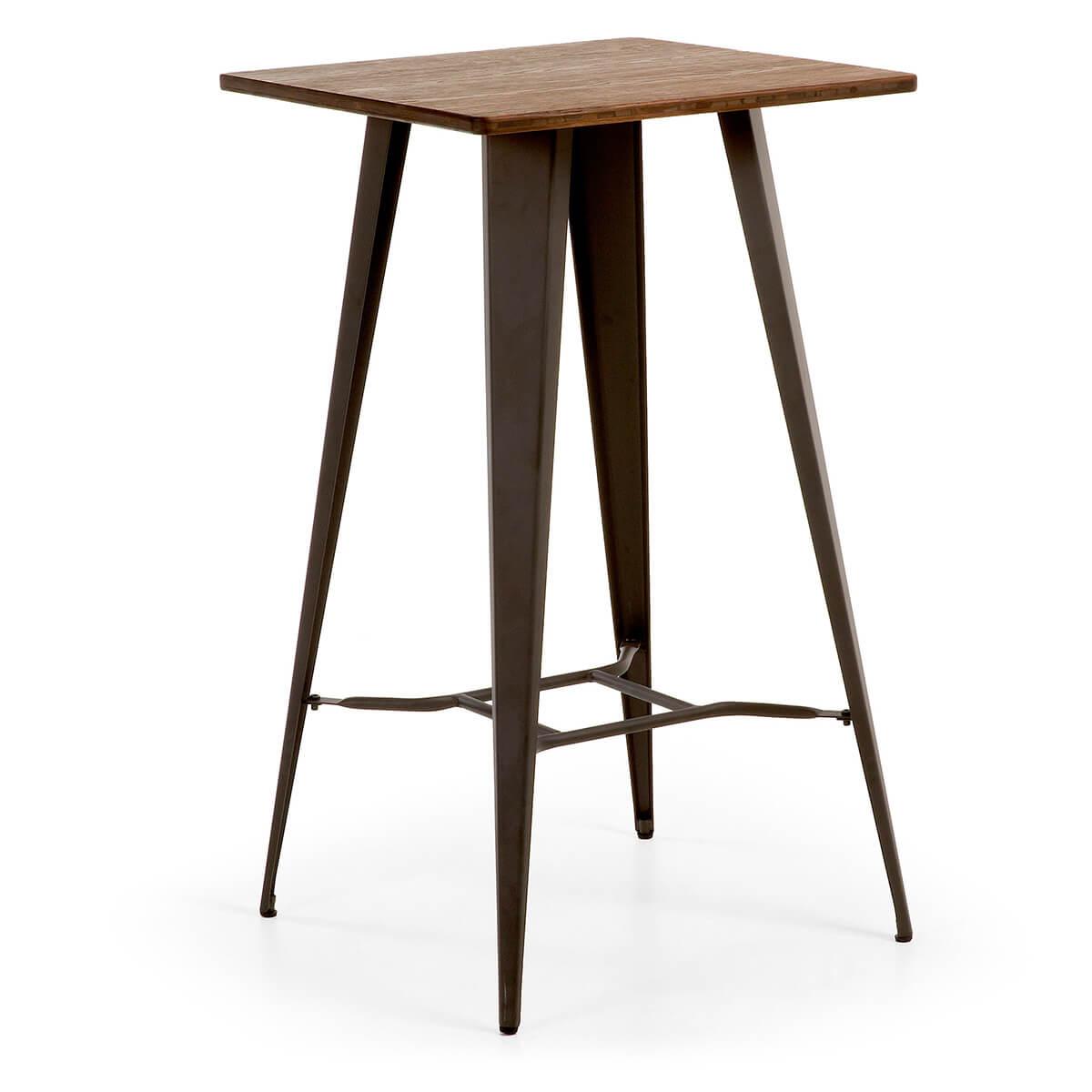 Artikalia - Mesa alta ZOY. Estructura de acero y tapa de madera