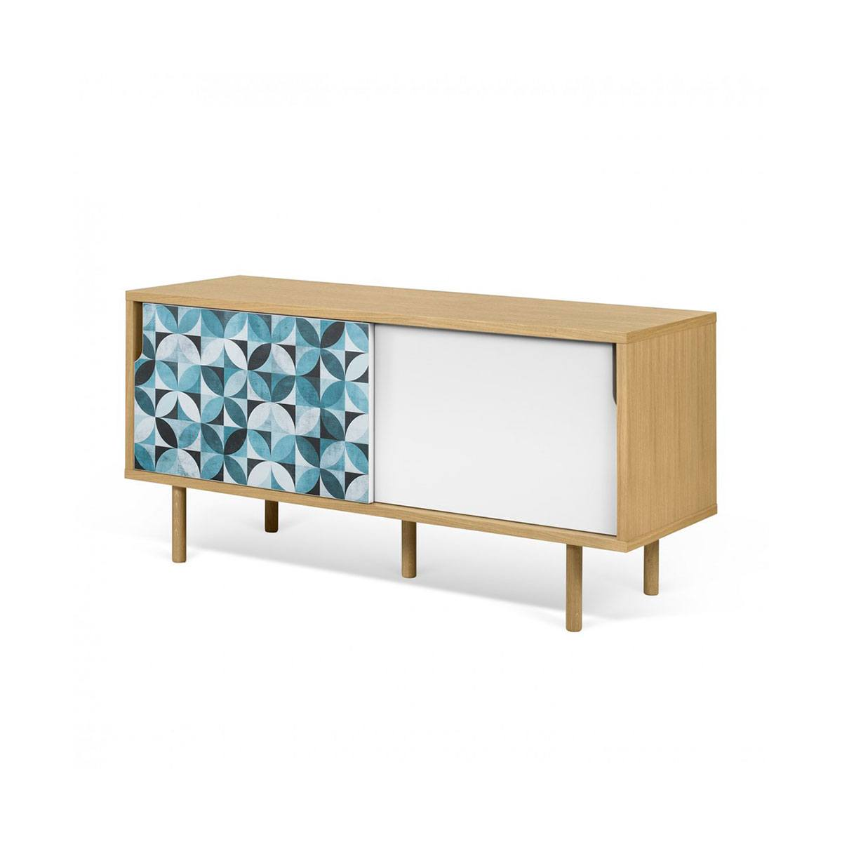 Mueble TV modular puertas corredizas con vinilo 135cm. Artikalia