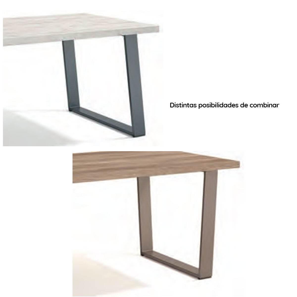 Mesa de comedor rectangular patas metálicas fija - Artikalia