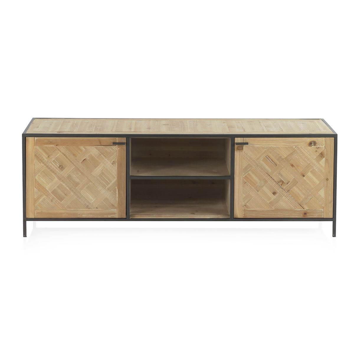 Mueble TV hierro y madera natural Artikalia