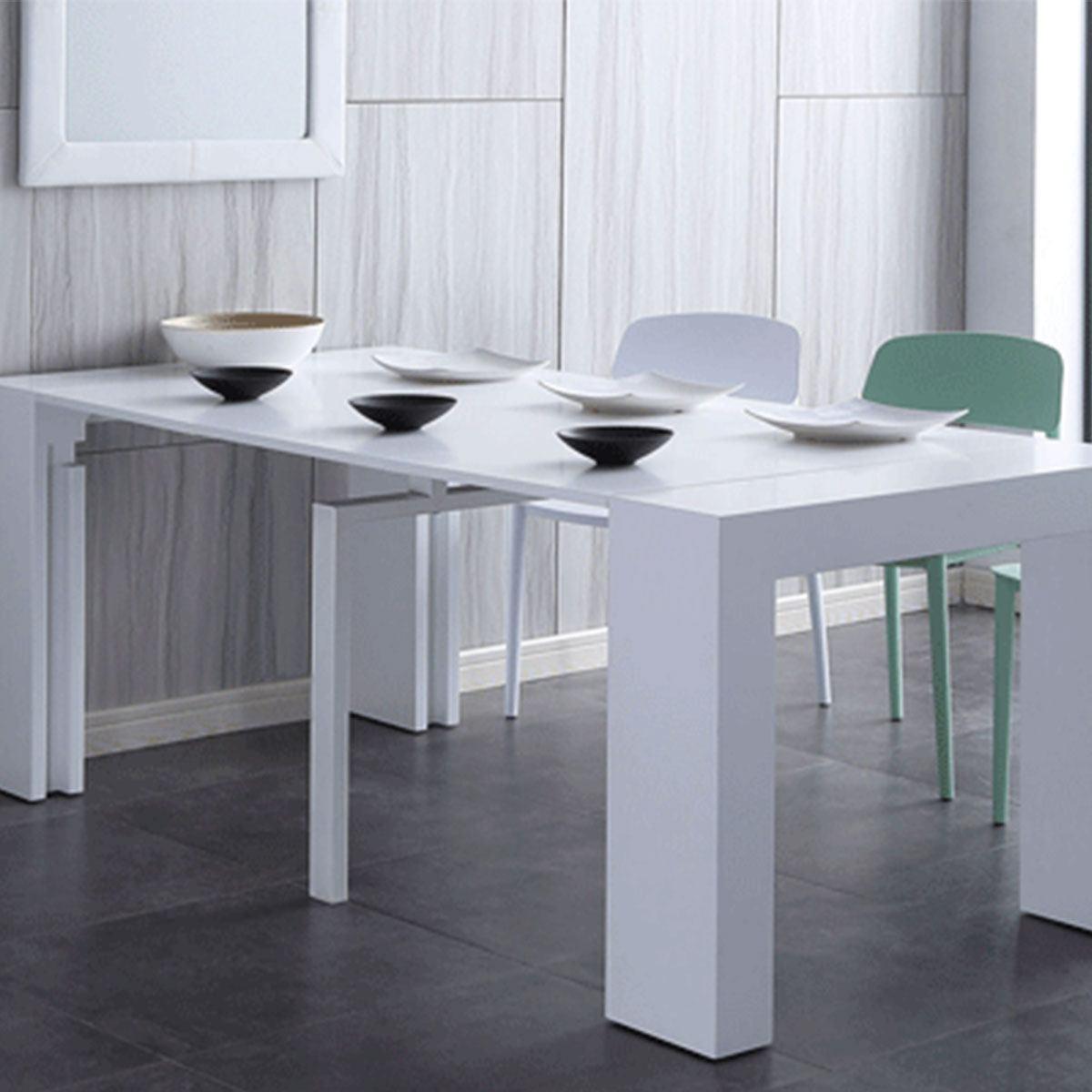 Consola / mesa extensible en color blanco - Artikalia