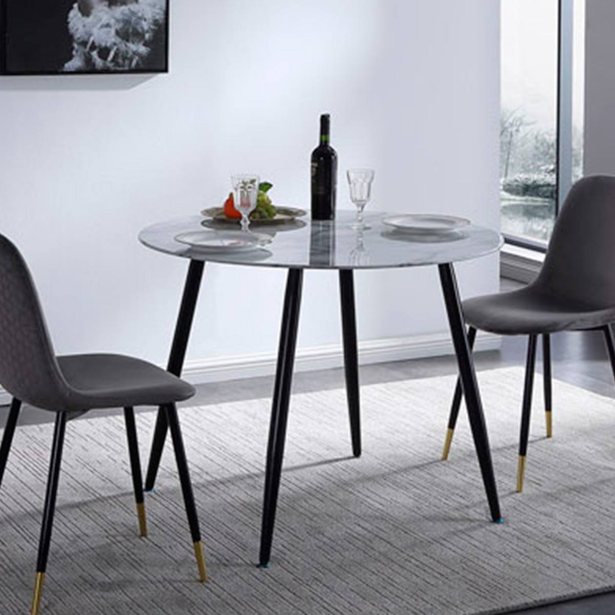 Mesa redonda comedor cristal efecto marmol 120cm patas negro ...
