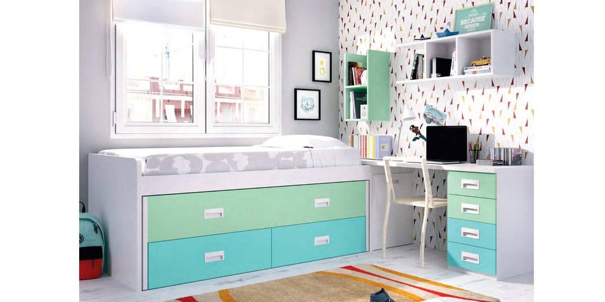 Dormitorio juvenil cama nido arc n zapatero y escritorio - Cama nido arcon ...