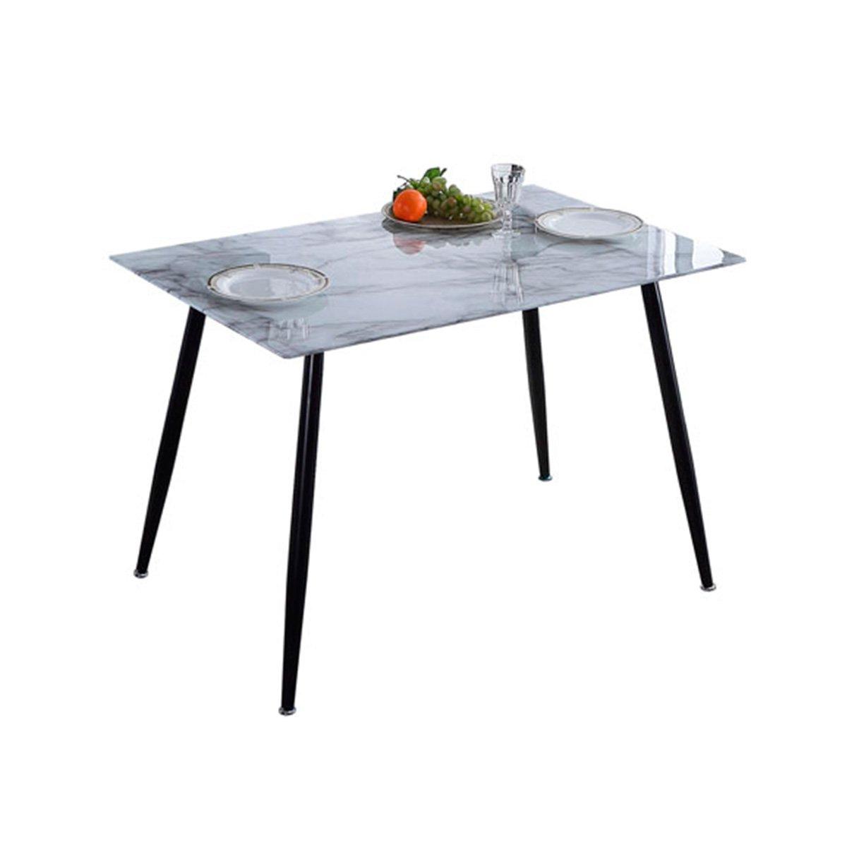 Mesa comedor cristal efecto marmol patas negro mate 120cm.
