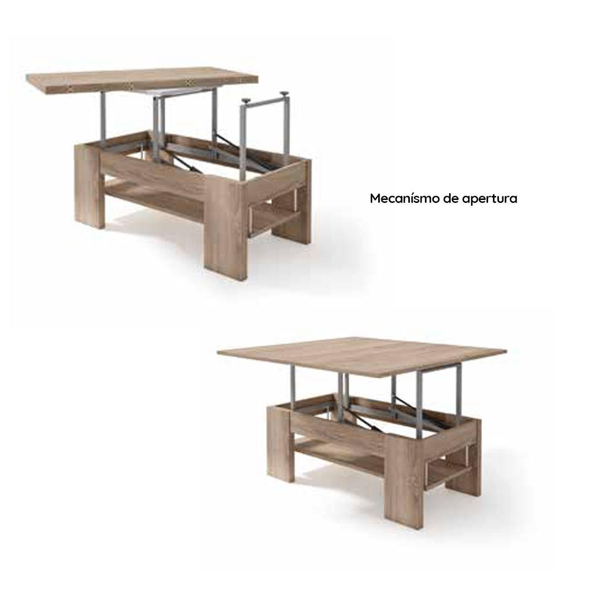 Mesa de centro elevable y extensible 110-100cm. Comprar ...