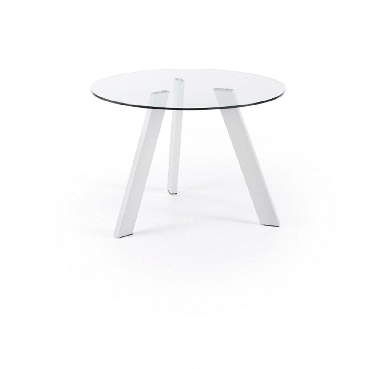 Mesa de comedor redonda acero y cristal. Jhon Artikalia