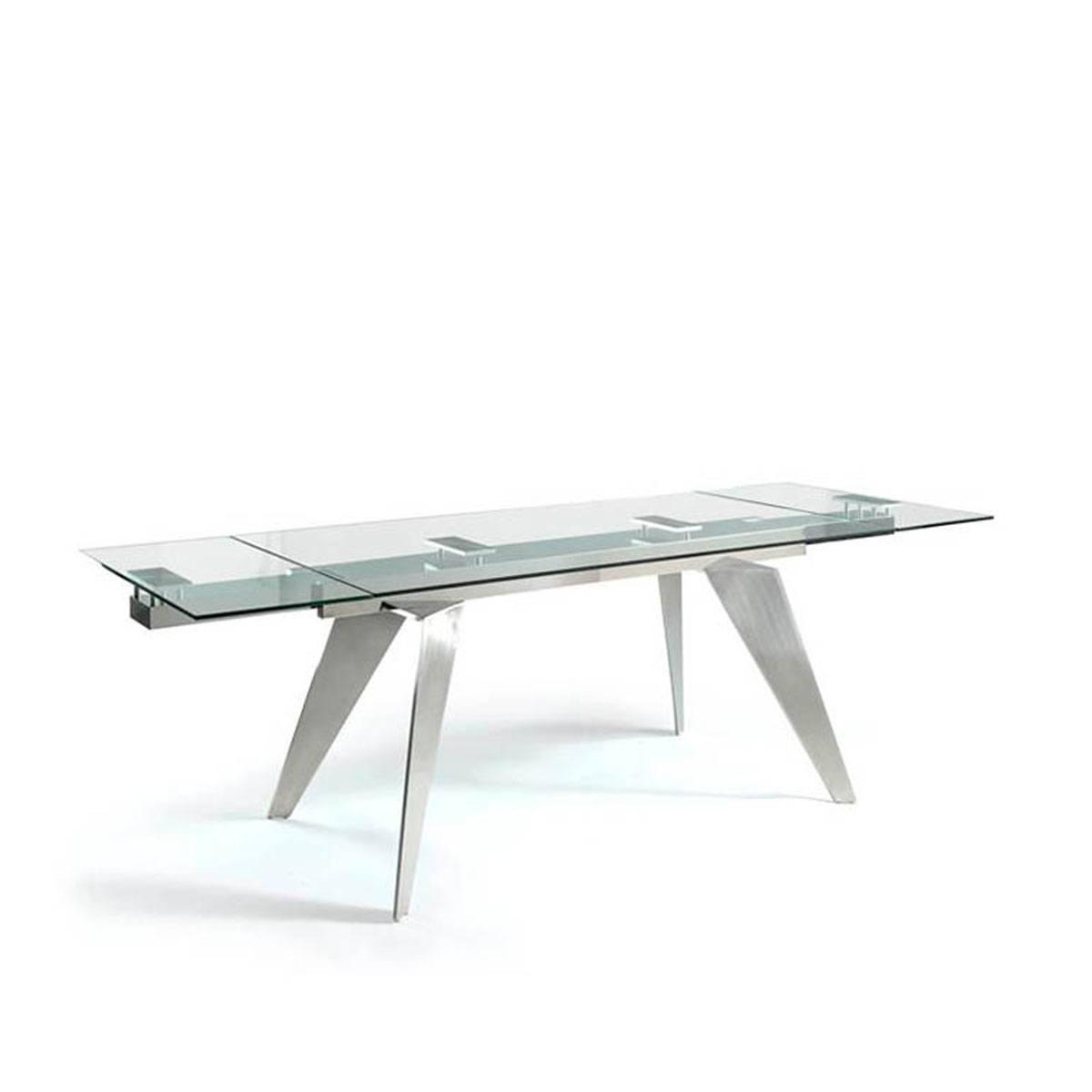 Mesa de comedor extensible cristal y acero Energy. artikalia