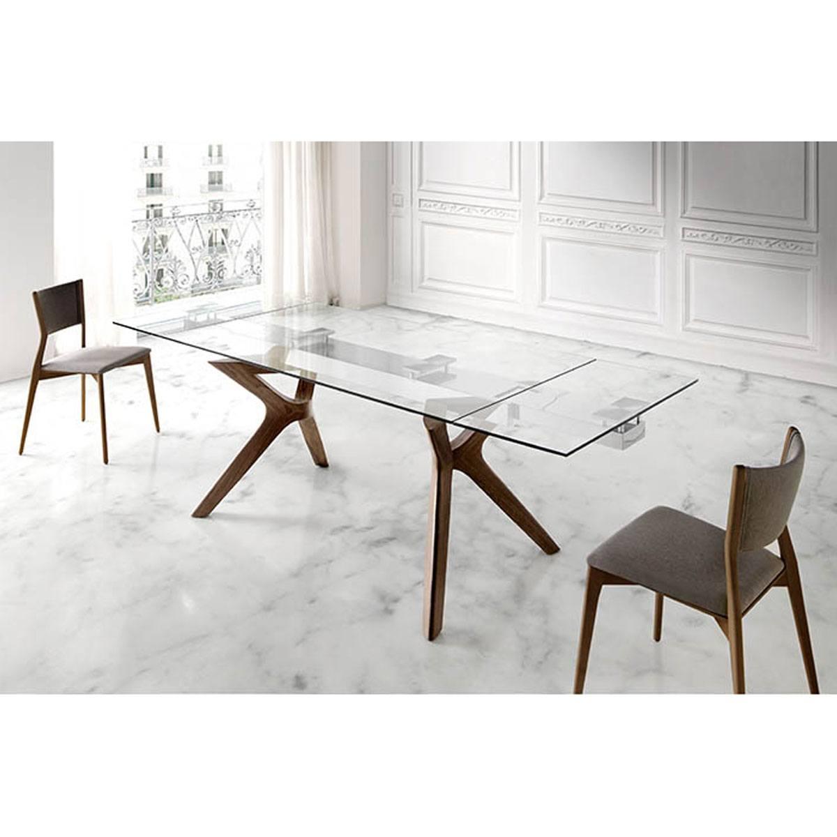 Mesa de comedor extensible cristal y madera Juli Comprar ...