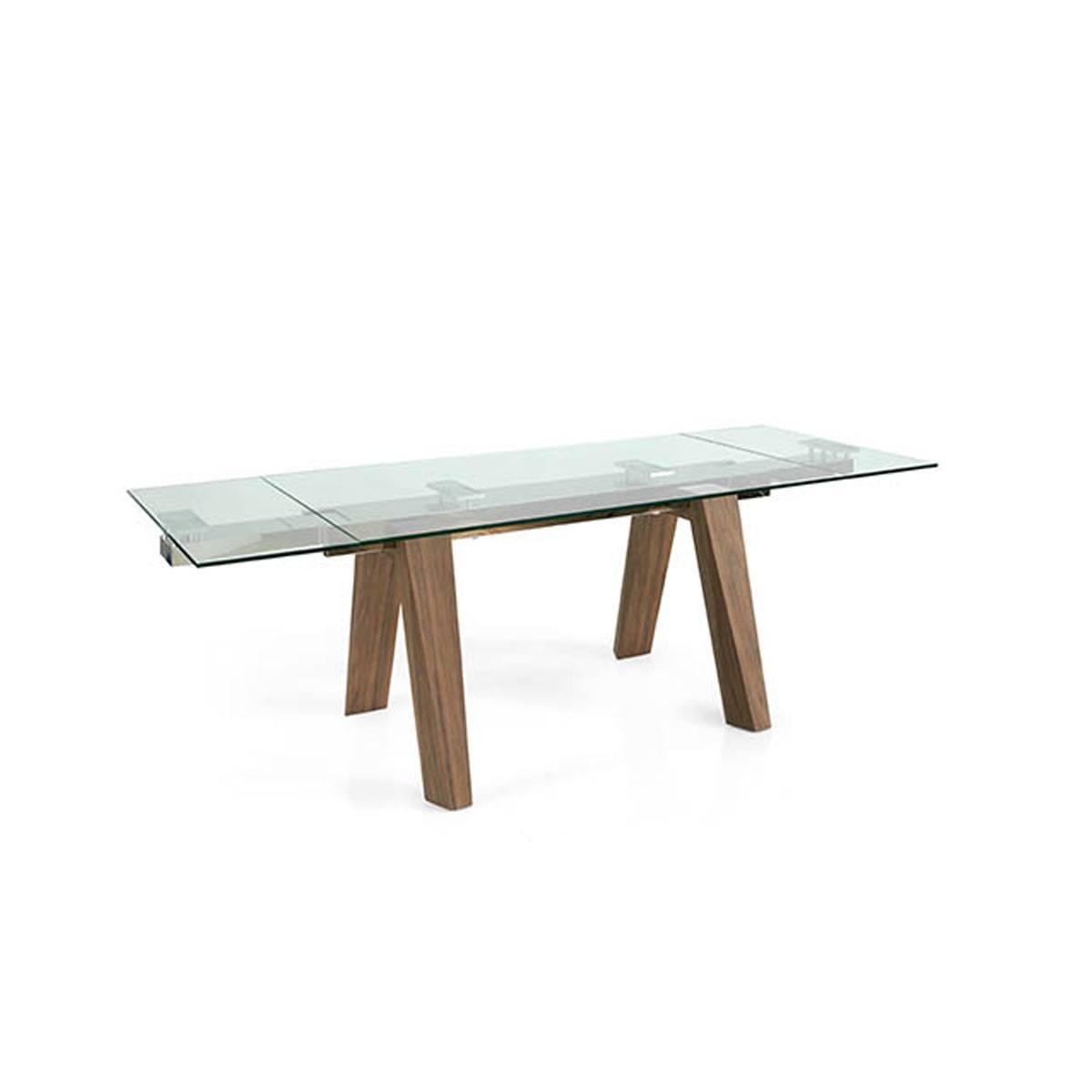 Mesa de comedor extensible cristal y madera robusta Súper