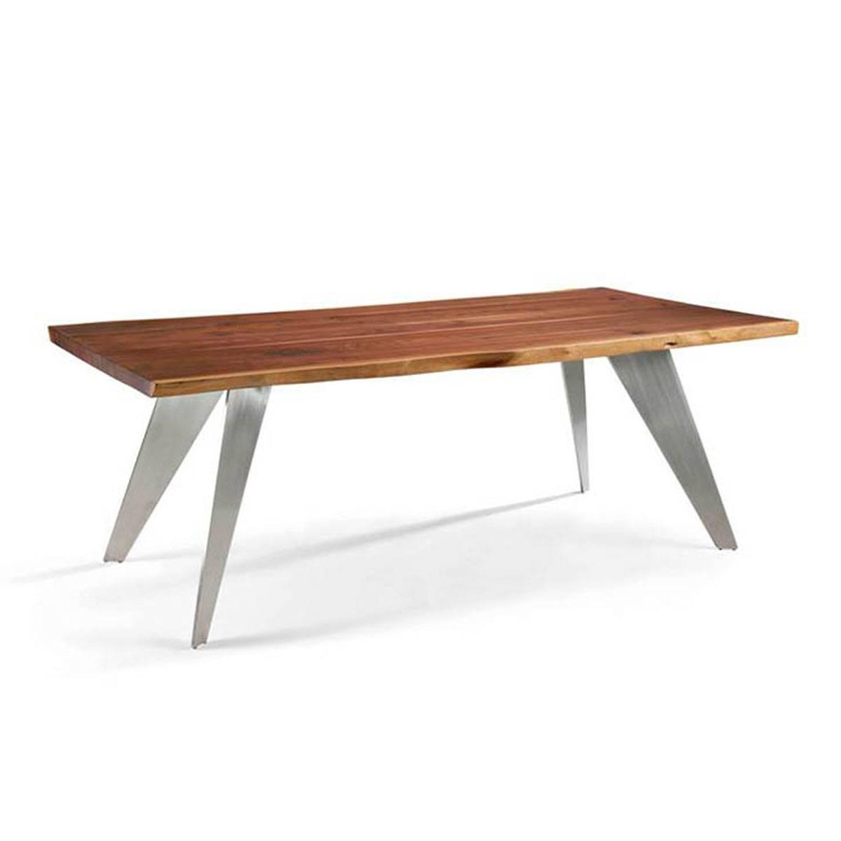 Mesa de comedor madera maciza y acero Power Comprar mesas ...