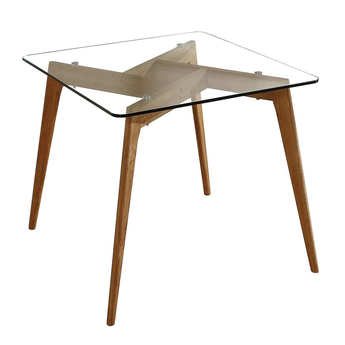 Mesa comedor cristal estructura de madera. Natural o negro. SOFT