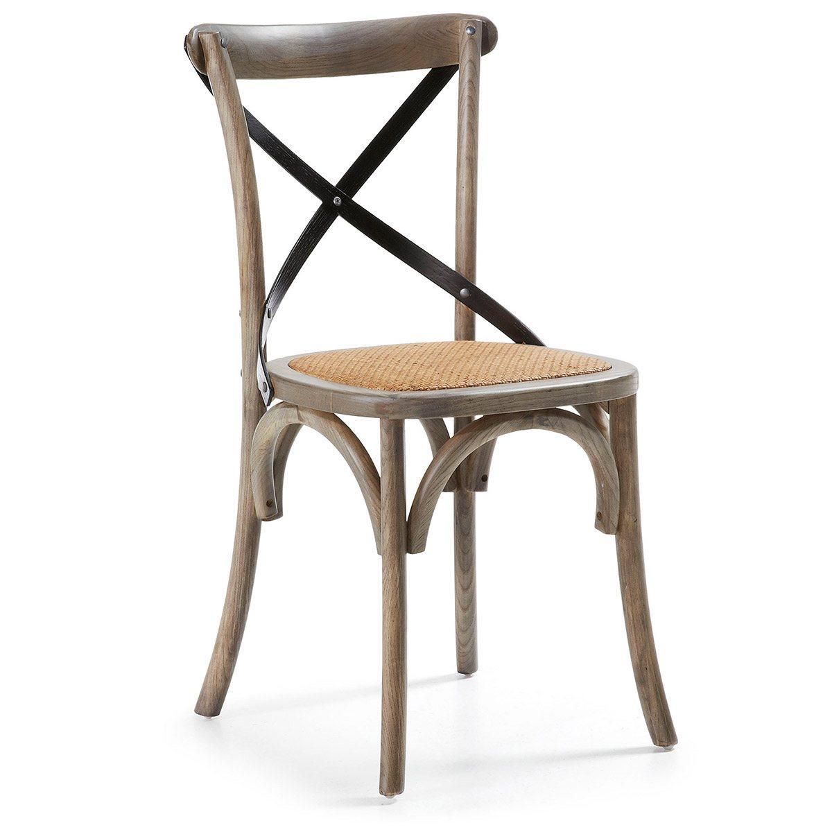 Silla NOXA. Estructura de madera de olmo y asiento en ratan ...
