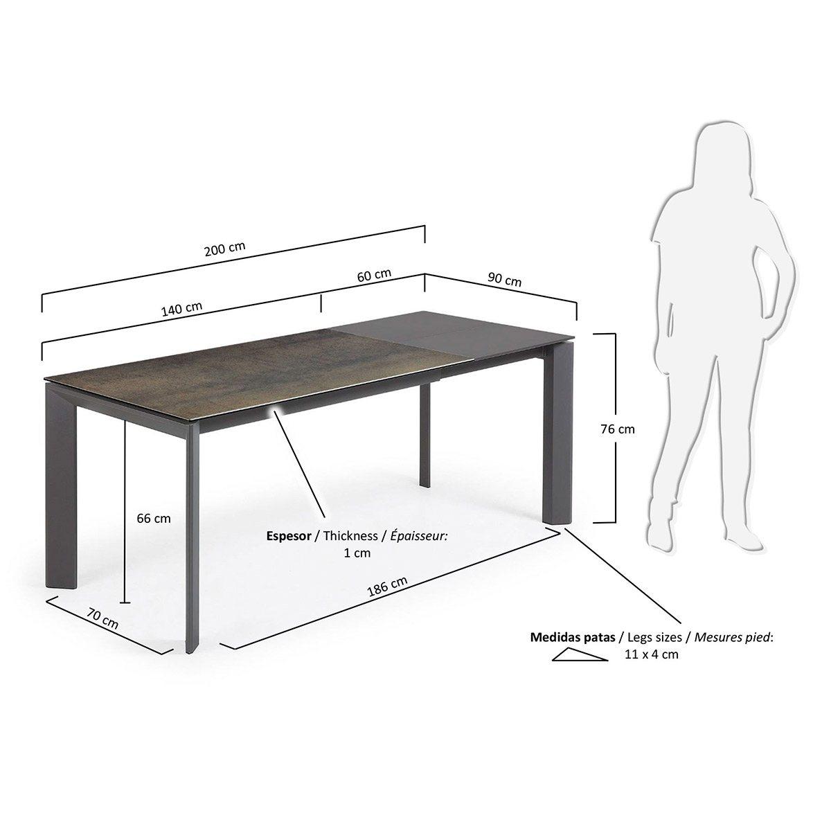 Mesa comedor extensible grafito- Artikalia - Mesas de metal