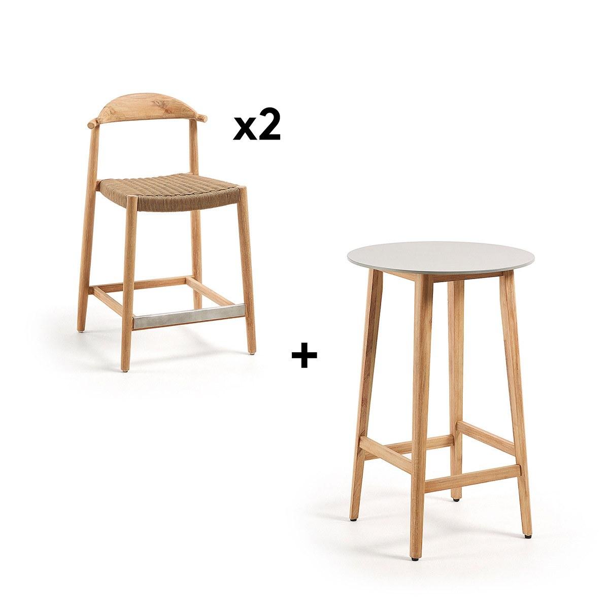 Mesa alta y dos taburetes madera - Artikalia - Packs en OFERTA